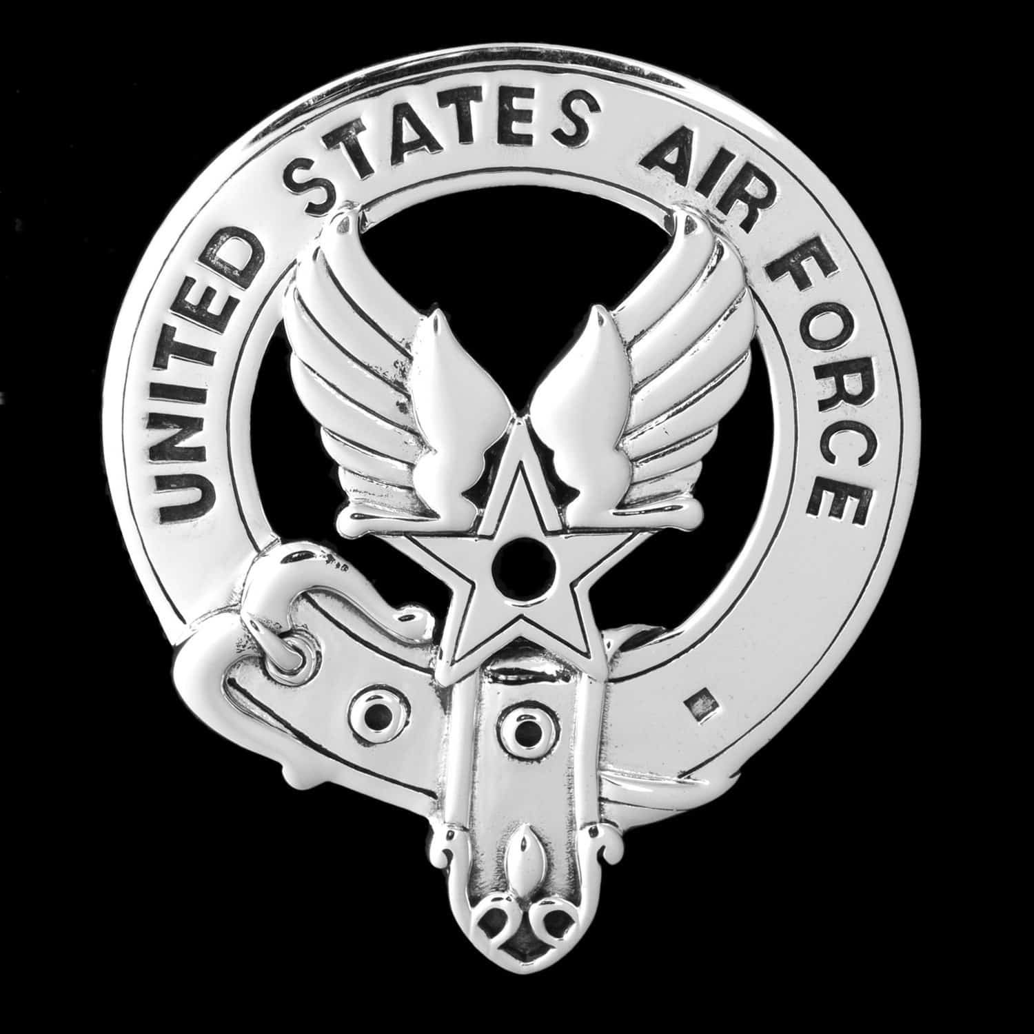 United States Air Force Sterling Silver Belted Bagpipers Badge - USAF ©celticjackalope.com