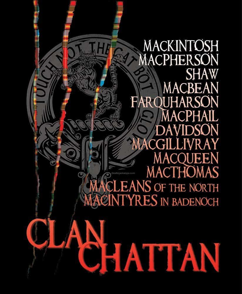 Clan Chattan Confederation Clansman's Crest Badge T-shirt by Diana Collins & Maxine Miller ©celticjackalope.com Touch Not the Cat
