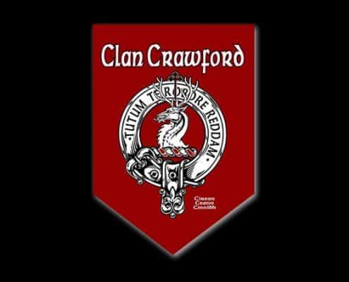 CLAN CRAWFORD CUSTOM PARADE BANNER - © CELTICJACKALOPE.COM - ARTIST MAXINE MILLER