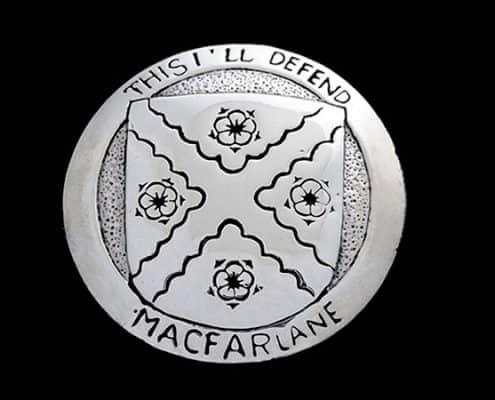 CLAN MACFARLANE HERALDIC PENDANT - © CELTICJACKALOPE.COM - DESIGNED BY BRIAN MACFARLANE