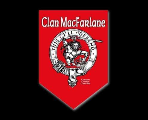 CLAN MACFARLANE CUSTOM PARADE BANNER - © CELTICJACKALOPE.COM - ARTIST MAXINE MILLER