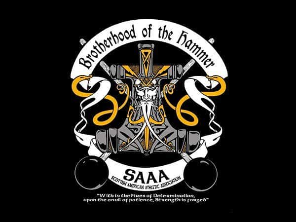 SAAA BROTHERHOOD OF THE HAMMER T-SHIRT - © CELTICJACKALOPE.COM - ARTIST MAXINE MILLER