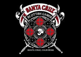 SANTA CRUZ SCOTTISH GAMES EVENT T-SHIRT - © CELTICJACKALOPE.COM - ARTIST MAXINE MILLER