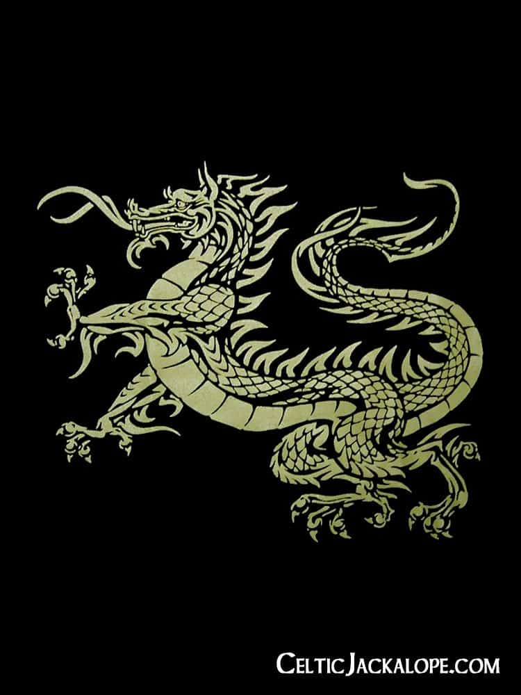 Celtic Dragon Ladies V-Neck T-Shirt by Maxine Miller ©celticjackalope.com