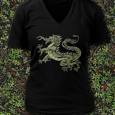 Celtic Dragon Ladies V-Neck T-Shirt by Maxine Miller ©celticjackalope.com