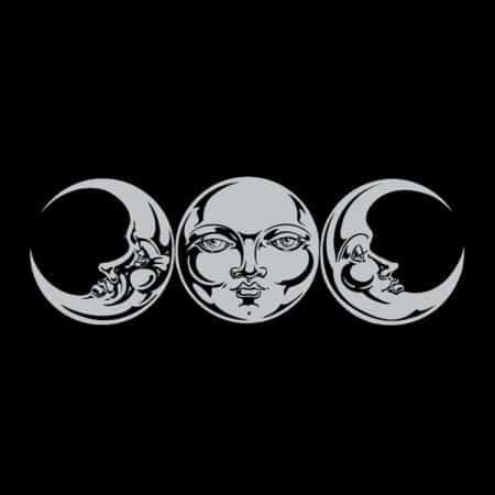 Moon Phases Triple Goddess Ladies Short Sleeve V-Neck T-Shirt by Maxine Miller ©celticjackalope.com
