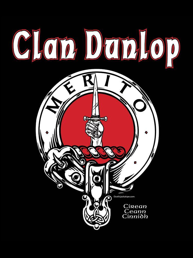 Clan Dunlop Clansman's Crest Badge T-Shirt by Maxine Miller ©celticjackalope.com