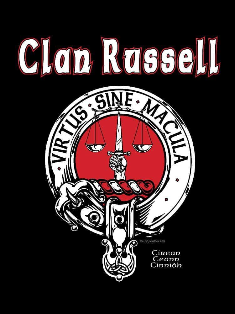 Clan Russell Clansman's Crest Badge T-Shirt by Maxine Miller ©celticjackalope.com