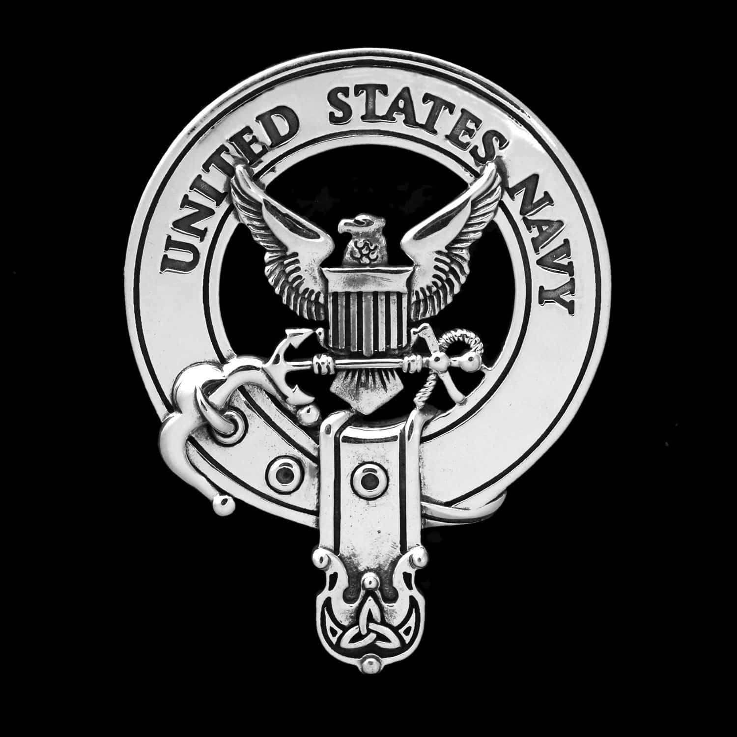United States Navy Bag Pipers Crest Badge 92.5 Sterling Silver ©celticjackalope.com