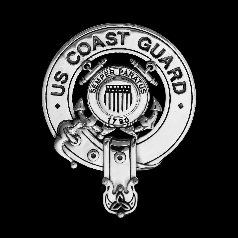 .925 Sterling Silver US Coast Guard Bagpipers Belted Crest Badge ©celticjackalope.com SEMPER PARATUS 1790