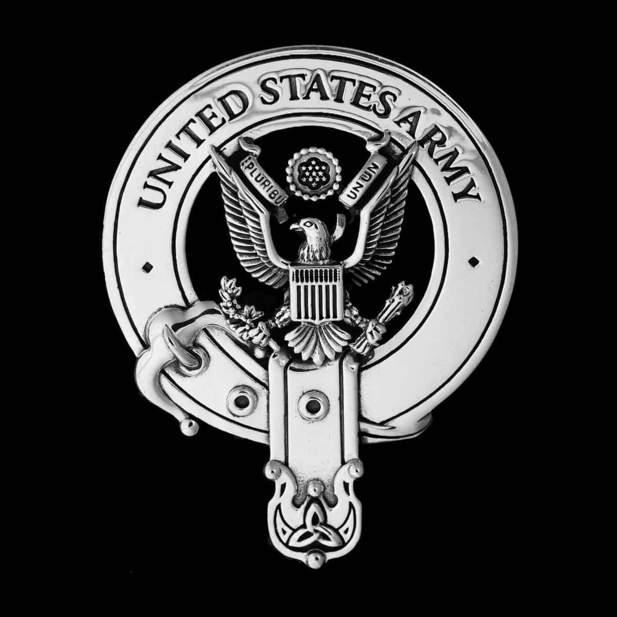 US ARMY Belted BagPipers Crest Badge Great Seal of the United States 92.5 Sterling Silver ©celticjackalope.com