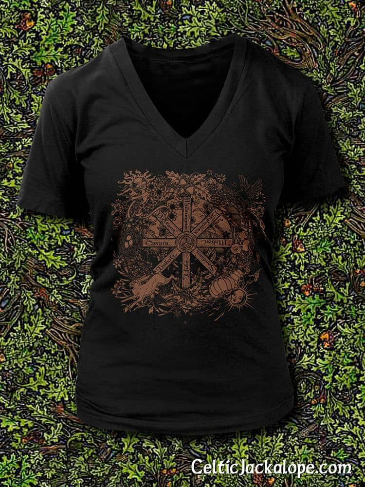Pagan Wheel of the Year T-Shirt by Maxine Miller ©celticjackalope.com