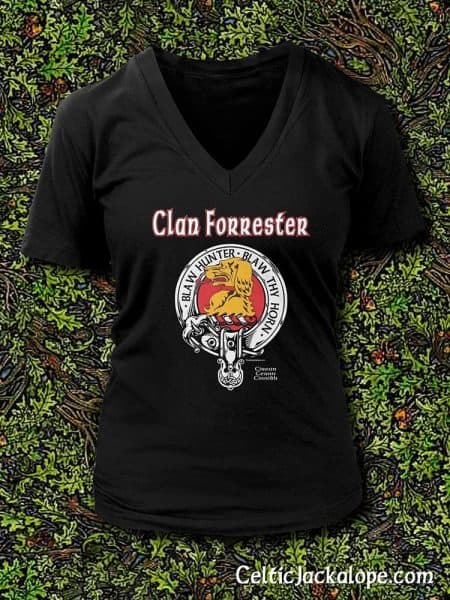 Clan Forrester Clansman's Crest Badge T-Shirt by Maxine Miller ©celticjackalope.com