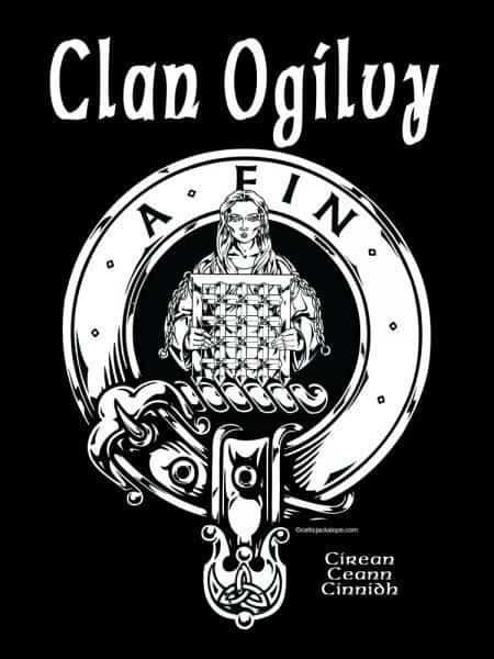 Clan Ogilvy Clansman's Crest Badge T-Shirt by Maxine Miller ©celticjackalope.com A FIN